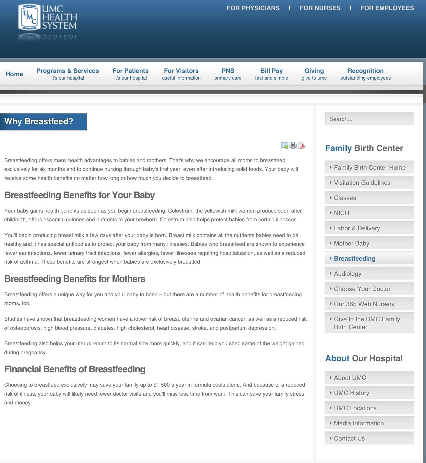 UMC Family Birth Center web page